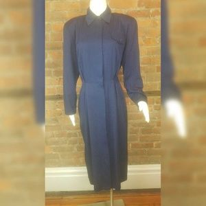 Vintage Women's 80s Dress Navy Shirt Dress Button